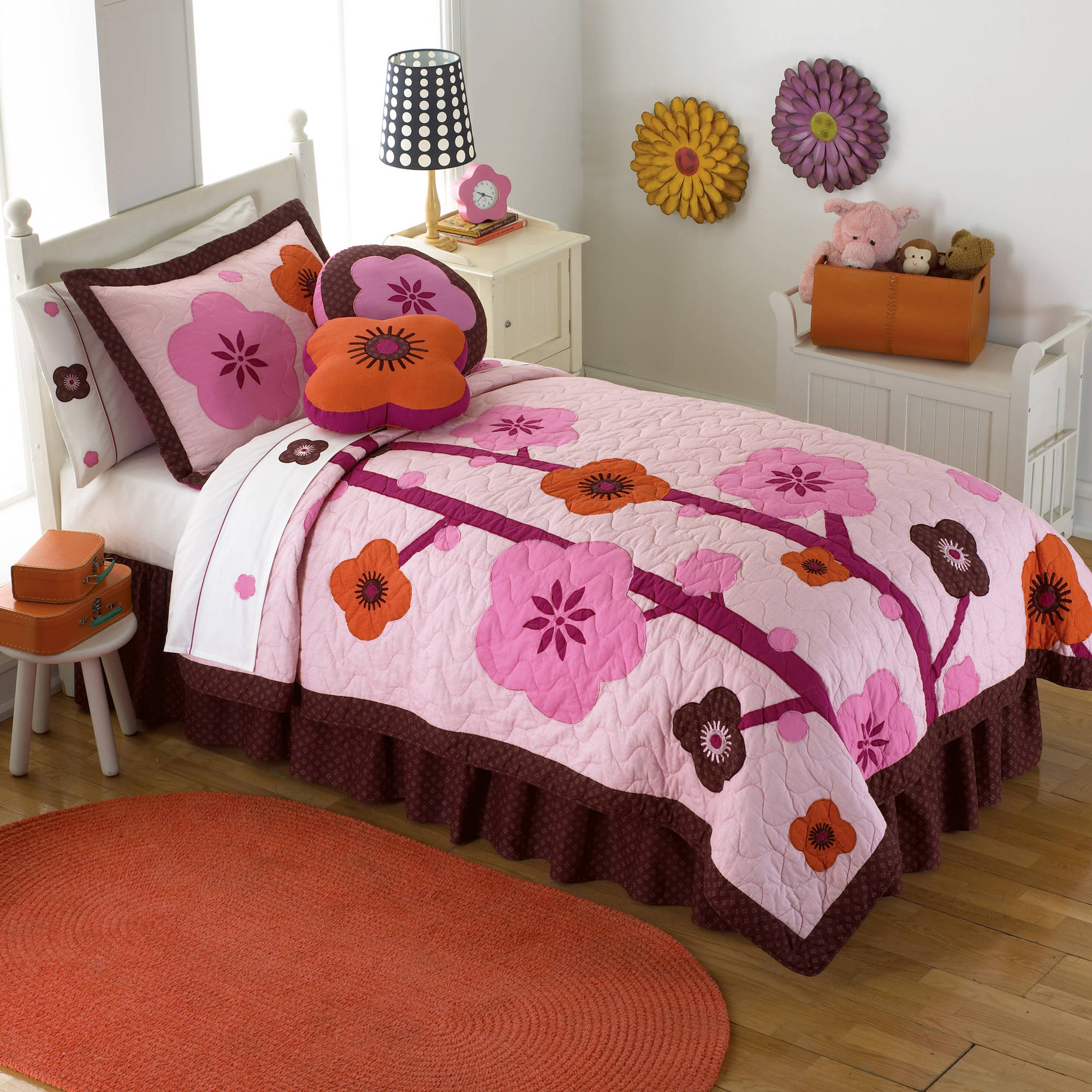 Flowers for Hanna Twin Bedding Quilt Set