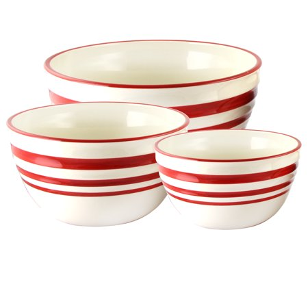 General Store Hollydale 3-Piece Stoneware Nesting Bowl Set in Banded Linen/Red