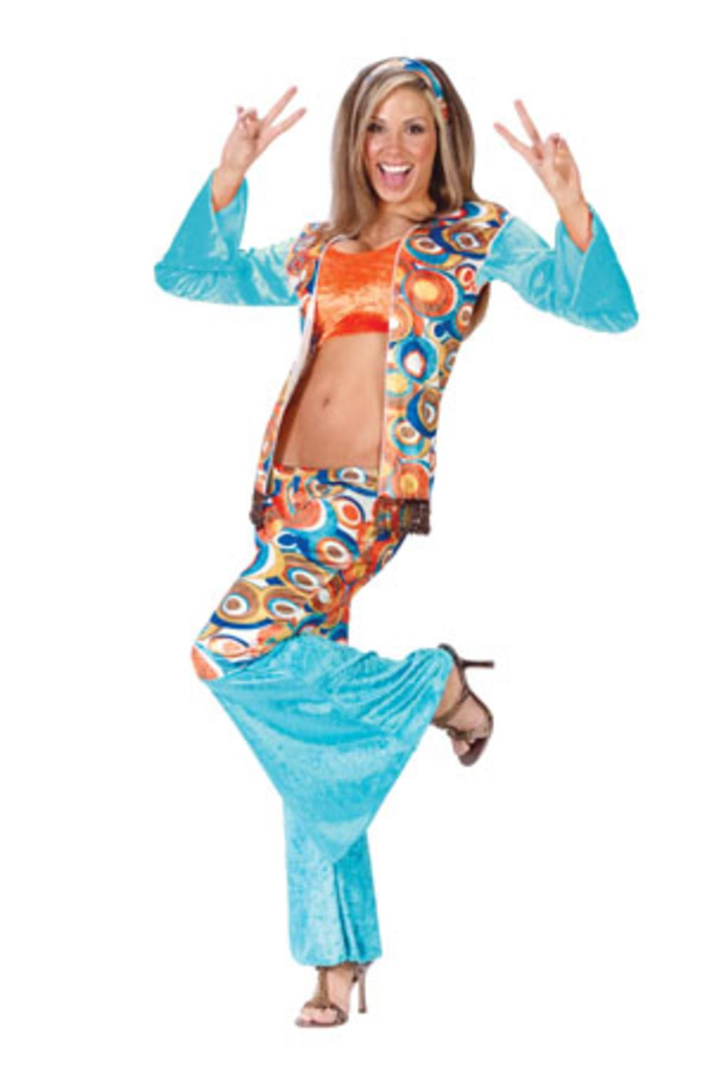 groovy hippie women's adult halloween costume size small/medium (2-8