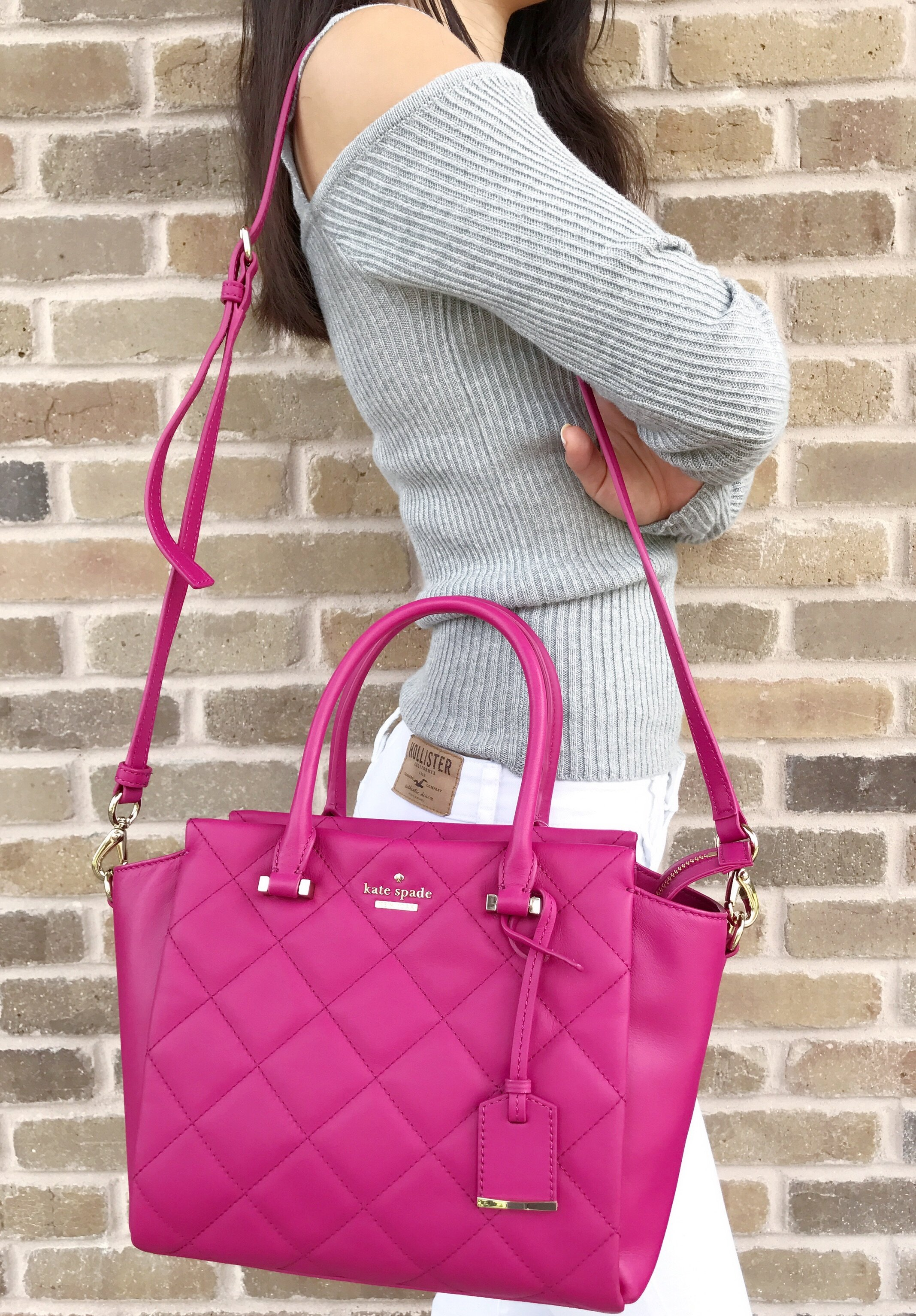 Kate Spade Emerson Place Small Hayden Quilted Leather Pink Handbag Berrytartl