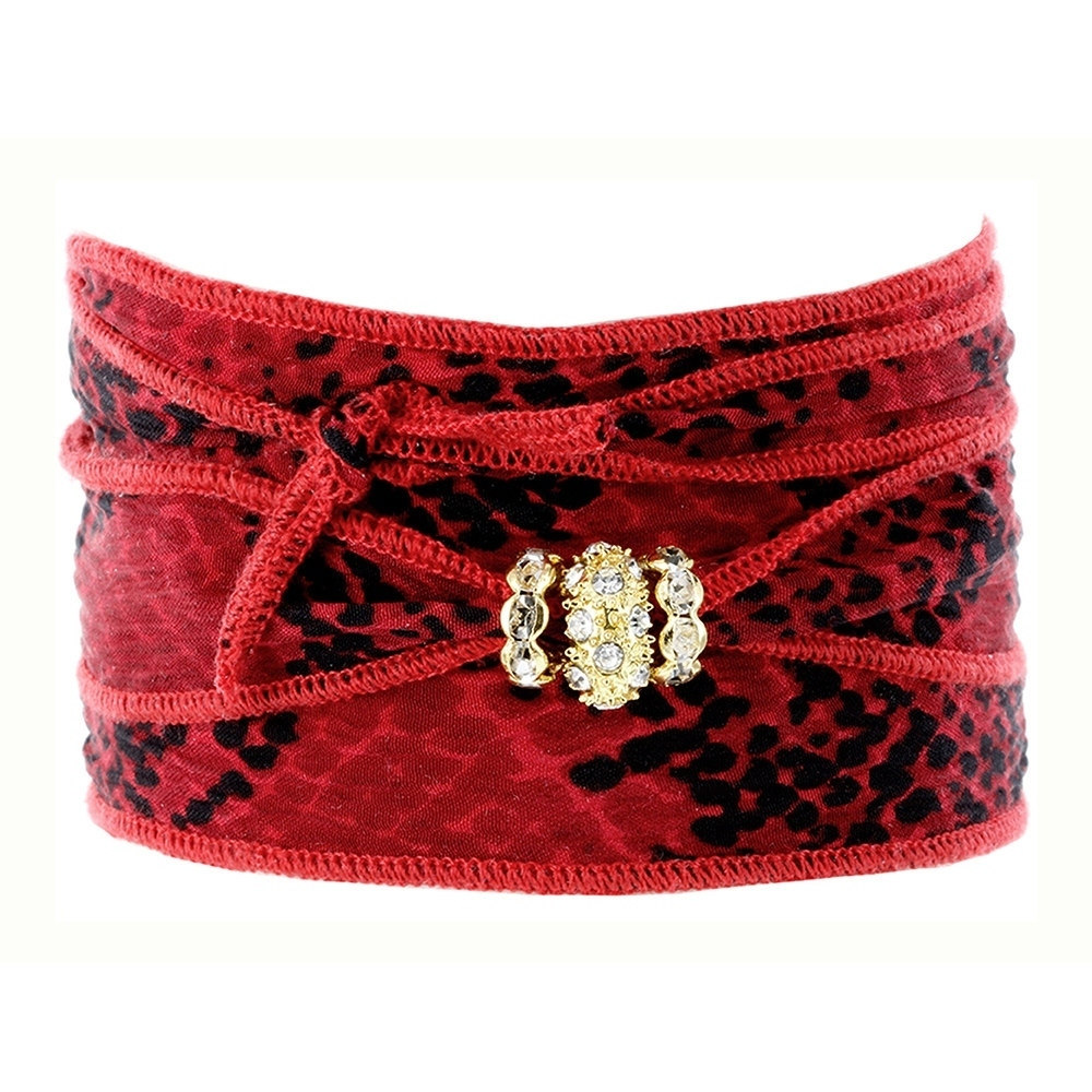 Fox and Baubles  Red and Black Print Silk Wrap with Brass and Crystal Spacers Bracelet
