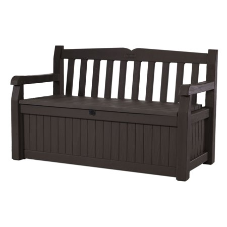 Keter Eden Outdoor Resin Storage Bench, All-Weather Plastic Seating and Storage, 70 Gal, Brown