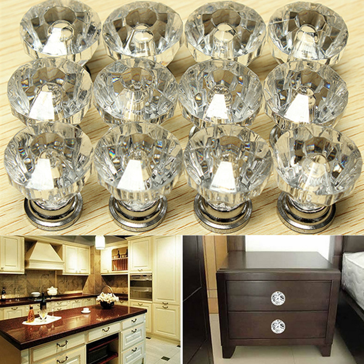 Pack of 12 Drawer Knob Pull Handle Crystal Dresser Glass ...