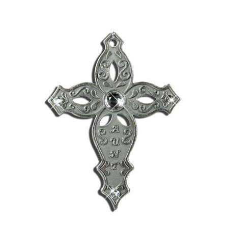 Aunt Pewter Hanging Cross, Gift Boxed with Special Aunt Saying (Handcrafted Pewter Gift Boxed)