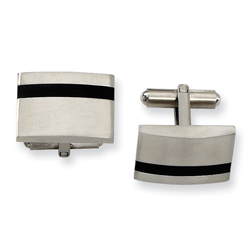 Stainless Steel Engravable Black Accent Cuff Links