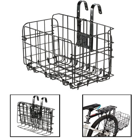 Foldable Metal Wire Basket Front Bag Rear Hanging Basket for Mountain Bike Folding Bicycle(Black) ()