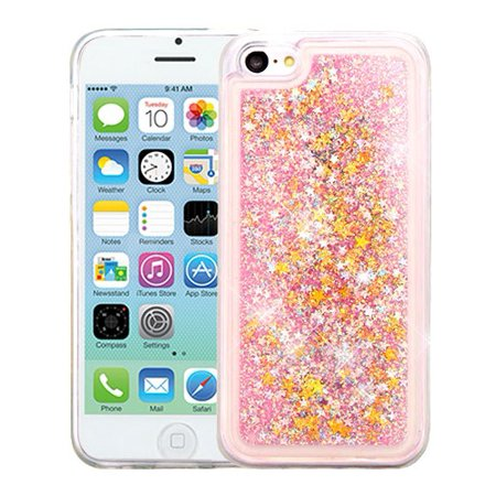 new product 4a5b5 919ca For iPhone 5c Liquid Bling Glitter Hybrid Rubber Phone Protector Case Cover