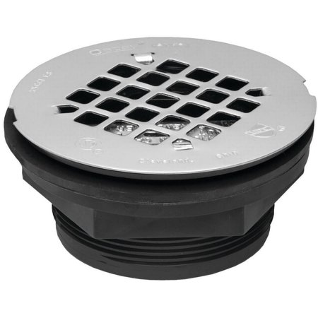 Oatey 101 Pnc Shower Drain  2 In  No Caulk  Abs Plastic  Stainless Steel Strainer