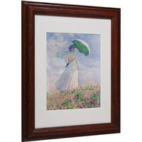 "Trademark Fine Art ""Woman With a Parasol"" Matted Framed Canvas Art by Claude Monet"