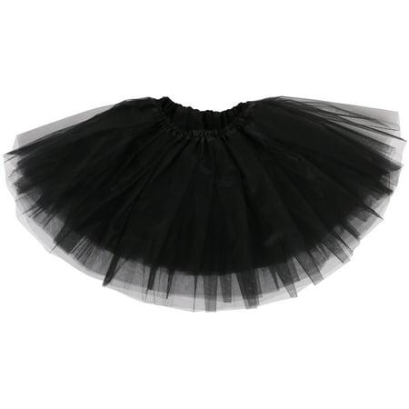 Simplicity Girl Petticoat Ballet Dance Fluffy Tutu Skirt w/ Elastic Waist, Black