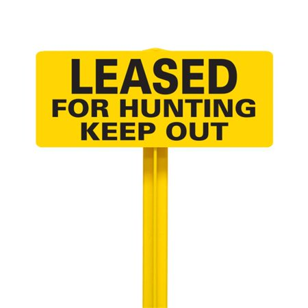 EverMark SSKT11-05 Leased For Hunting Keep Out Sign with Yellow Stake