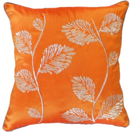 - Decorative Silver Leaves Embroidery with Piping Floral Throw Pillow COVER 18