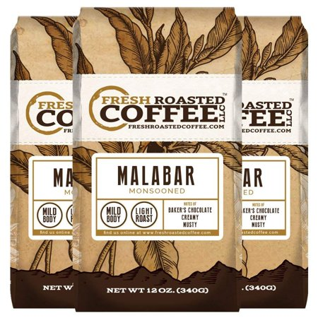 Monsooned Malabar AA Coffee, Whole Bean Coffee, Fresh Roasted Coffee LLC. (12 oz. 3pk Whole Bean)