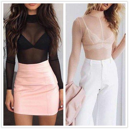 Women See-through Sheer Mesh Blouse Hallow Net Long Sleeve Casual T-Shirt Tops