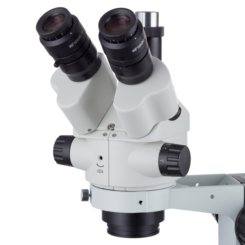 AmScope 7X-45X Simul-Focal Fluorescent Trinocular Boom Stereo Microscope 18MP USB3 Camera