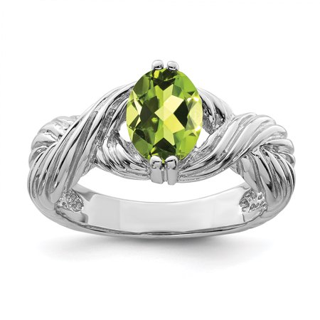 96d715e8f6c4f 925 Sterling Silver Green Peridot Band Ring Size 8.00 Stone Gemstone For  Women