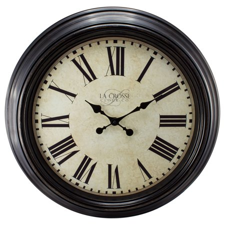 - La Crosse Clock 404-2658 23 Inch Round Brown Antique Dial Analog Wall Clock with Roman Numerals
