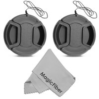 (2-Pack) 58mm Snap-On Center Pinch Lens Cap with Holder Leash for Camera Lenses