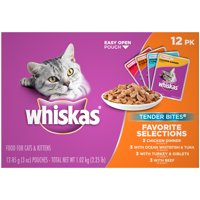 (12 Pack) WHISKAS TENDER BITES Favorite Selections Variety Pack Wet Cat Food, 3 oz. Pouches
