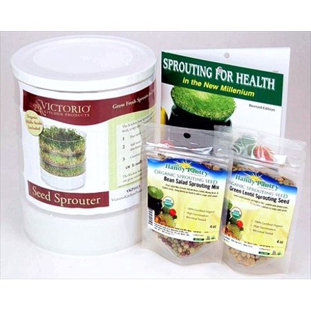 Kitchen Crop Sprouting Kit - Includes Victorio 4 Tray Sprouter, Sprouting Book, Organic Alfalfa, Lentil & Bean Salad Sprout Mix - Makes Over 3 Lbs of
