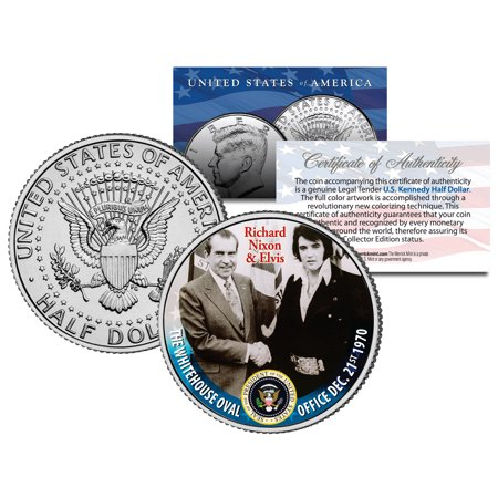 Elvis Presley Meets Richard Nixon At White House Jfk Kennedy Half Dollar Us Coin