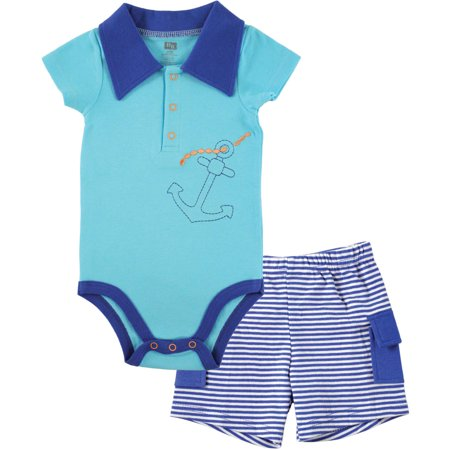 Newborn Baby Boys' Short Sleeved Bodysuit and Cargo Shorts, Choose Your Color & Size