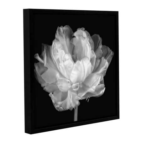 Tulipa Double Black and White I' Gallery Wrapped Floater-framed Canvas Art Print