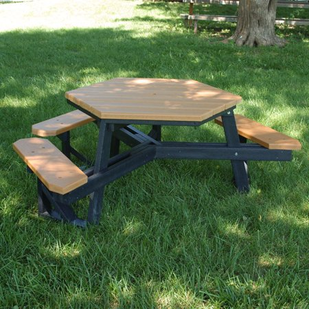 Jayhawk Plastics Hexagon Recycled Plastic ADA Commercial Grade - Recycled plastic hexagonal picnic table
