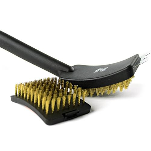 Yukon Glory Small BBQ Grill Brush, High-Quality, Long-Lasting, Thick Brass Bristles, Best Grill Brush sturdy grip handle