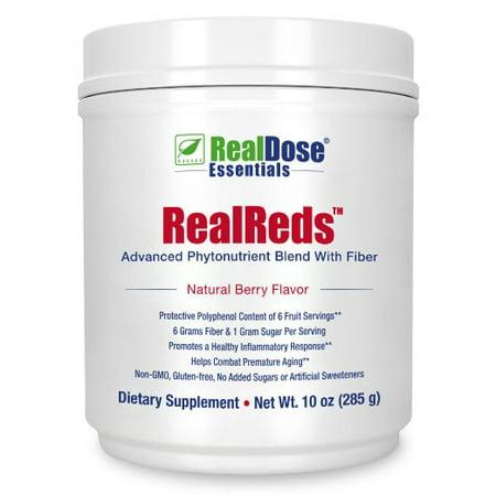 RealDose Nutrition RealReds Antioxidant Powder - Includes Prebiotic Fiber, Polyphenols & Organic Superfoods – Superfruits, Blueberries, Pomegranate, Grape & Cherry - 30 Servings