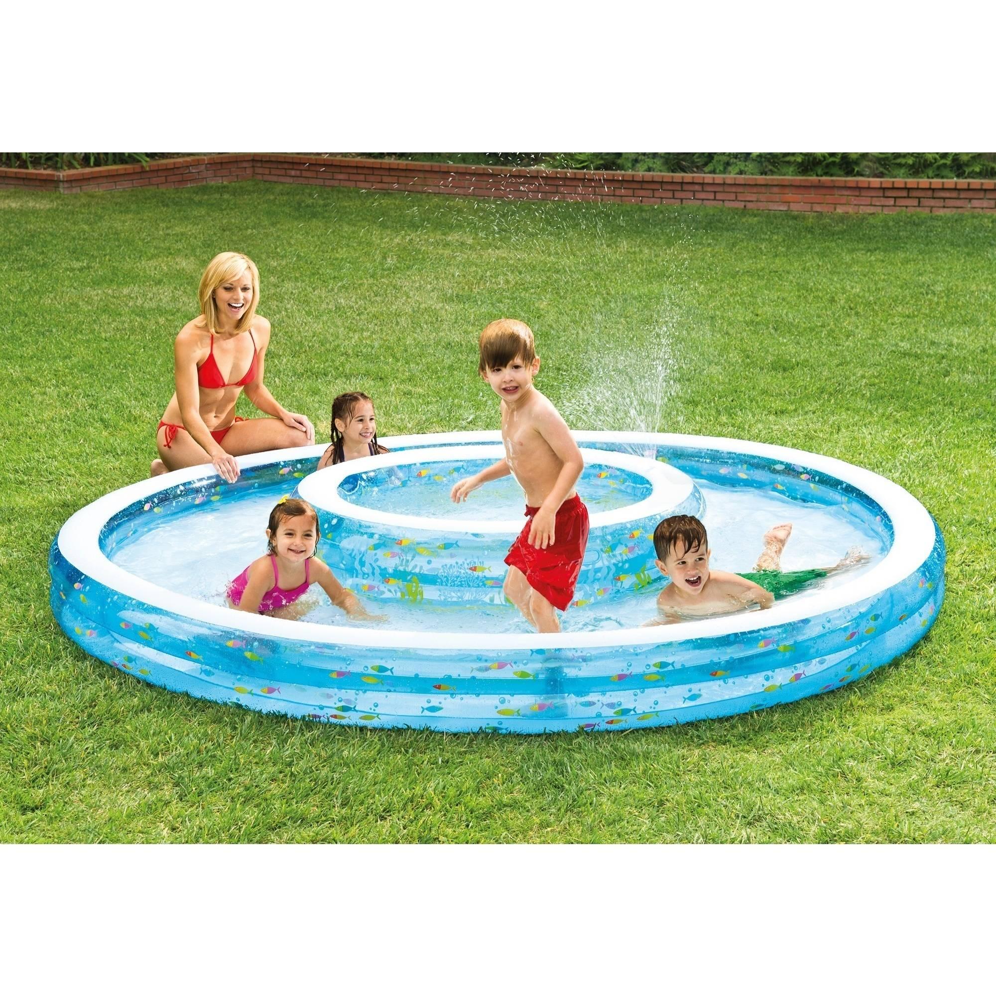 Rectangle Inflatable Pool intex inflatable wishing well pool with sprayer - walmart