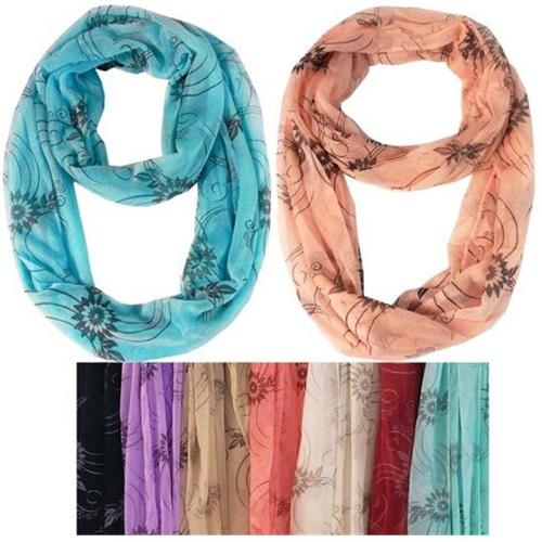 Light Weight Infinity Scarves Floral Design Case Of 60