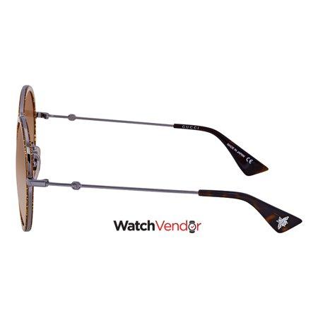 8308cc4f6f Gucci Round Silver-Gold Glitter Ladies Sunglasses GG0061S 011 56 - image 2  of 3 ...