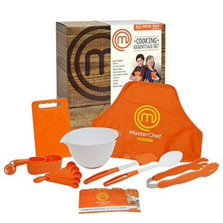 MasterChef Junior Cooking Essentials Set - 9 Pc. Kit Includes Real Cookware for Kids, Recipes and Apron - Cooking Kit