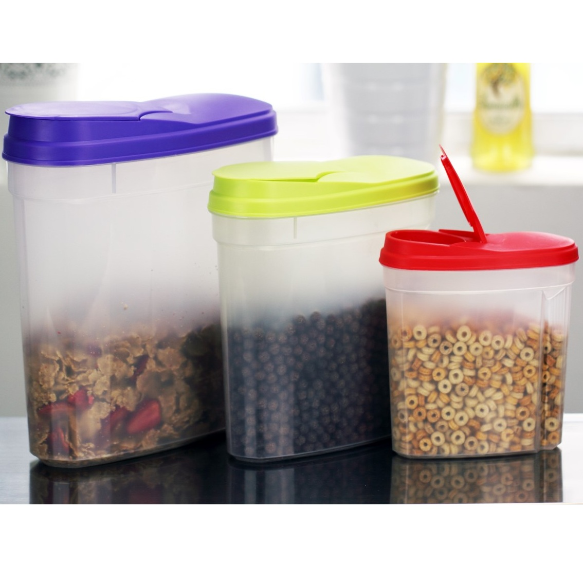 3pc Cereal Dispenser Container Set Airtight Fresh Seal Lids Food Storage Snacks