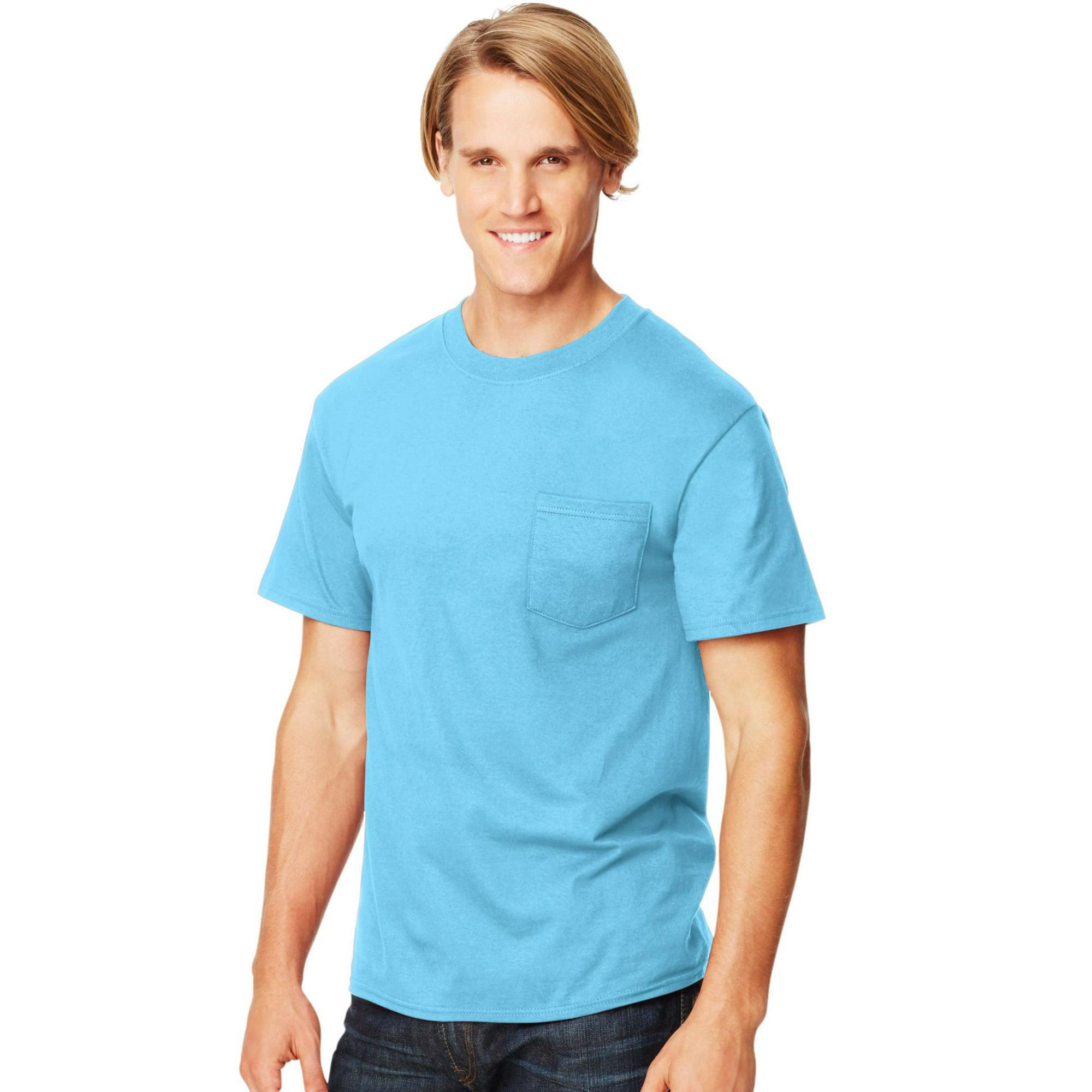 90a18d42 Hanes Beefy-T Men`s Pocket T-Shirt, 3XL, Blue Horizon | Walmart Canada