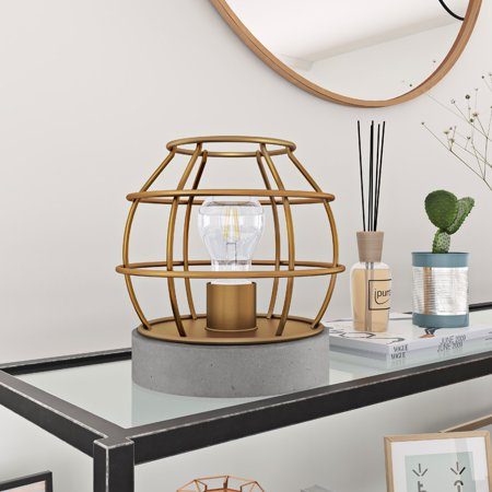 Brass Antique Table Lamp - Kennet Industrial Table Lamp with Antique Brass Cage and Concrete Base