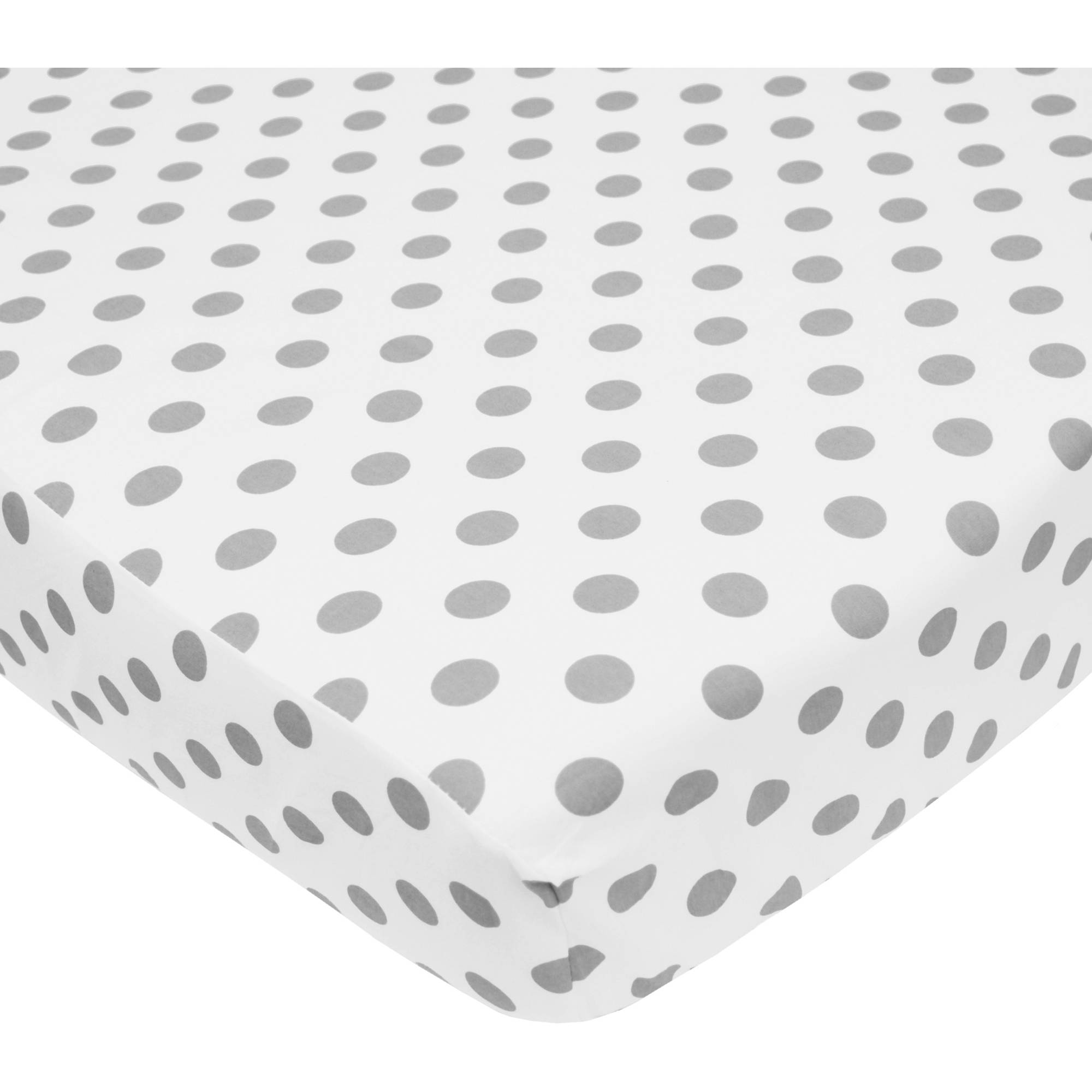 TL Care 100 Percent Cotton Percale Fitted Crib Sheet, White with Gray Dot