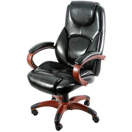 Black Executive Chair With Wood Toned Base
