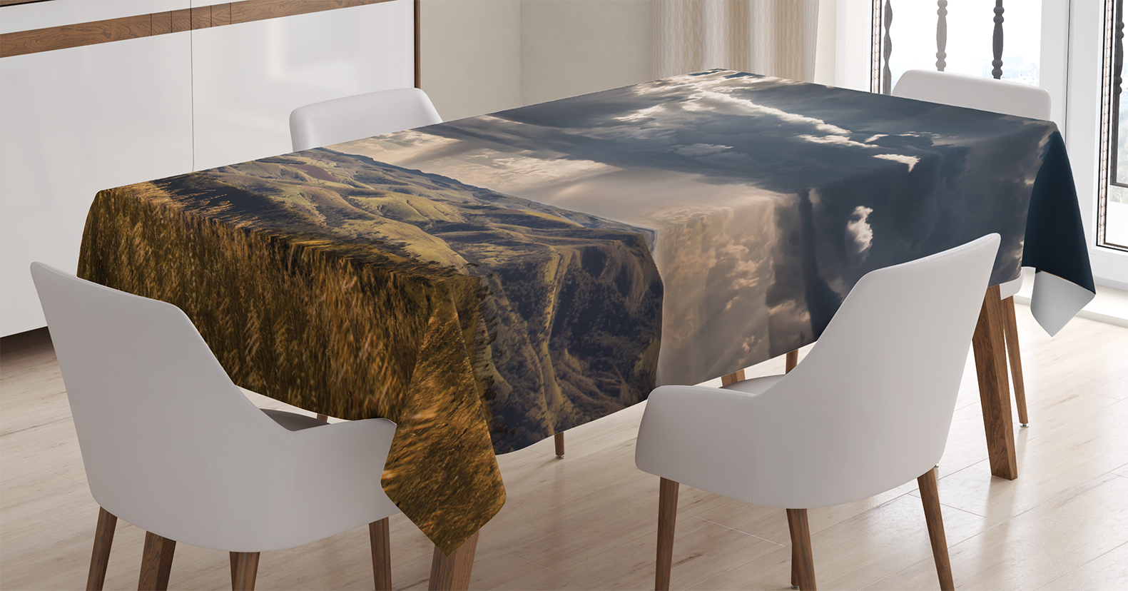 Farmhouse Decor Tablecloth, Puffy Clouds in Sky over Mountains Rough Valley Canyon Natural Wonders Concept, Rectangular Table Cover for... by Kozmos