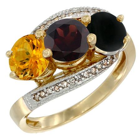14K Yellow Gold Natural Citrine, Garnet & Black Onyx 3 stone Ring Round 6mm Diamond Accent, sizes 5 - 10 Black Onyx 3 Stone Ring