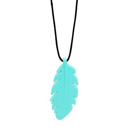 Bumkins Feather Silicone Teething Pendant, Turquiose