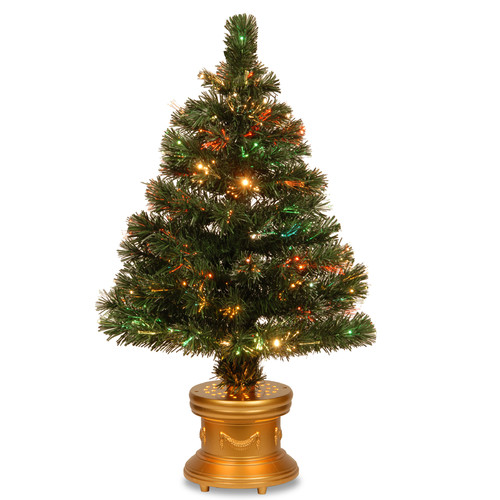 """National Tree Pre-Lit 48"""" Fiber Optic Radiance Fireworks Artificial Christmas Tree with Top Star Gold and Gold Base"""