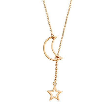 KABOER Trendy Fashion 925 Silver Moon Star Story Chain Hanging Necklace Female Jewelry Gifts Hot ()