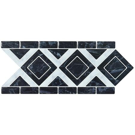 "10 Sheets Peel and Stick Tile Backsplash Border Waist Line Retro Mosaic Wall Sticker Kitchen Cabinet Toilet 12.4"" x 5"""