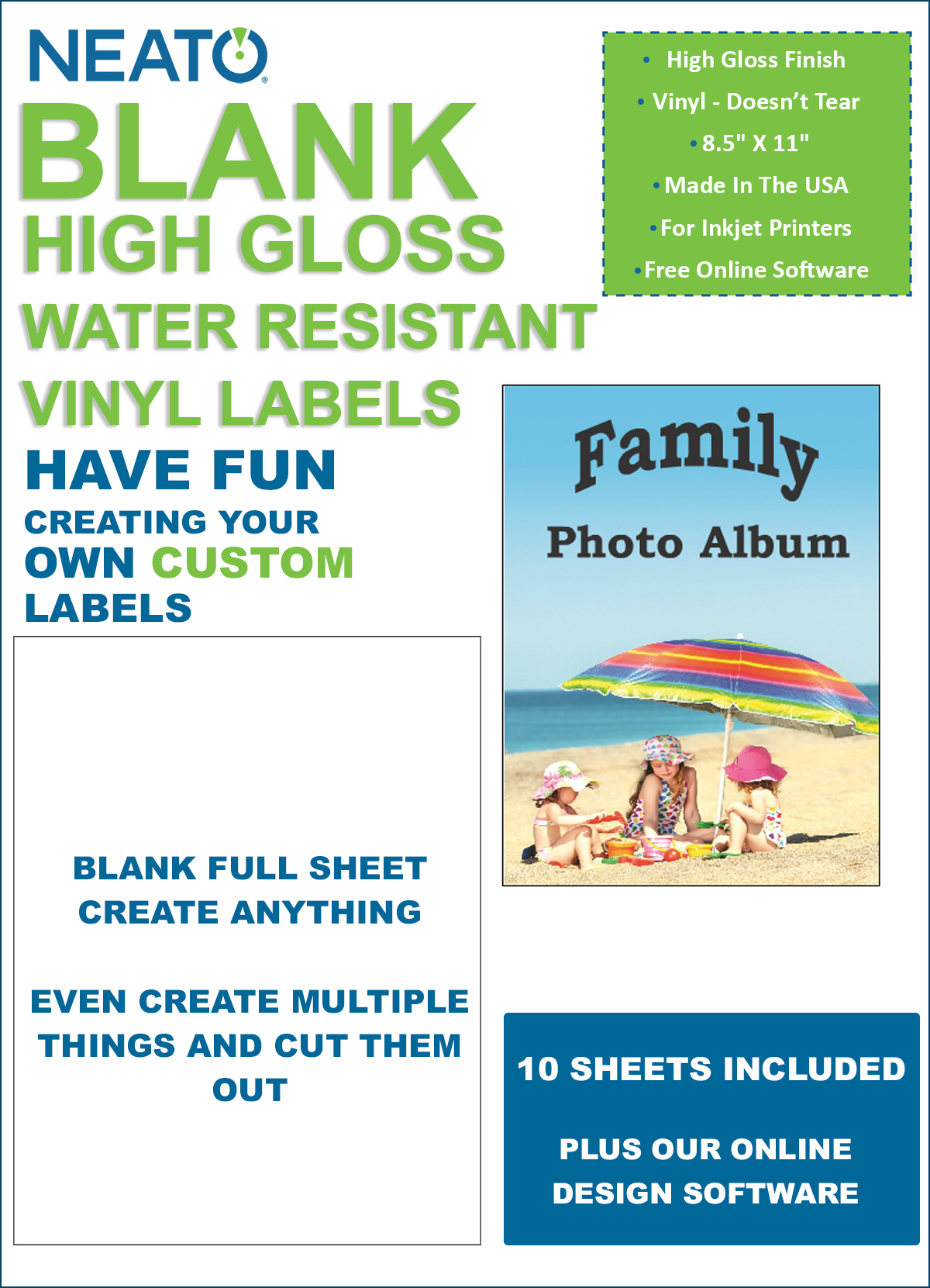picture relating to Inkjet Printable Vinyl Walmart identify Blank Entire Sheet Labels - Higher Gloss, Vinyl, White, Drinking water Resistant, 8.5\