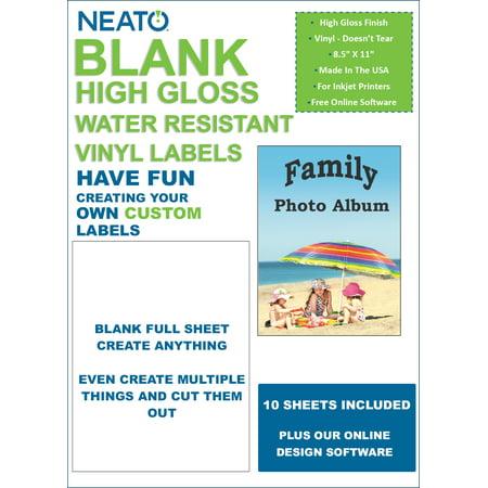 Blank Full Sheet Labels - High Gloss, Vinyl, White, Water Resistant, 8.5
