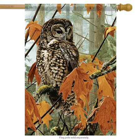 Maple Leaf Flag (Fall Maple Owl Wildlife House Flag Autumn Double Sided Leaves 28