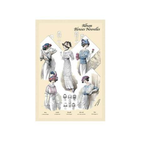 Five Jaunty Fashions (Album Blouses Nouvelles: Five Jaunty Fashions Print (Unframed Paper Print)