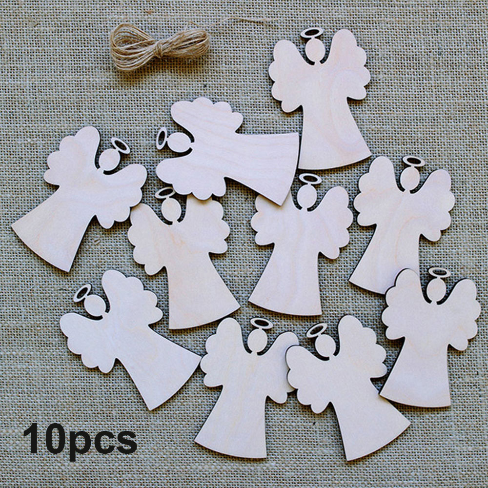 10pcs Christmas Tree Decorations Wooden Pendants Crafts Scene Layout Hanging Ornaments Party Wedding Holiday Adornment